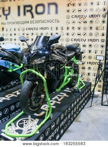 St. Petersburg Russia - 15 April, Sports racing motorcycle bike,15 April, 2017. International Motor Show IMIS-2017 in Expoforurum. Motorcycles and motoconcepts presented at St. Petersburg Motor Show.