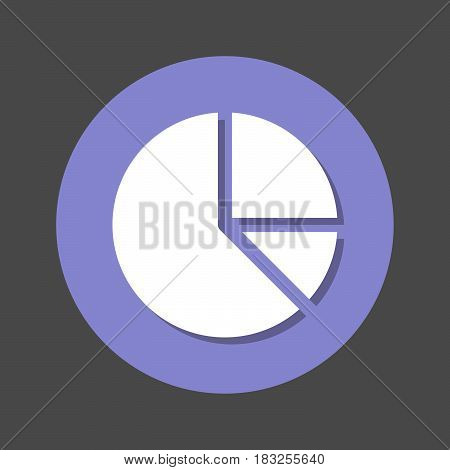 Pie chart flat icon. Round colorful button circular vector sign with shadow effect. Flat style design