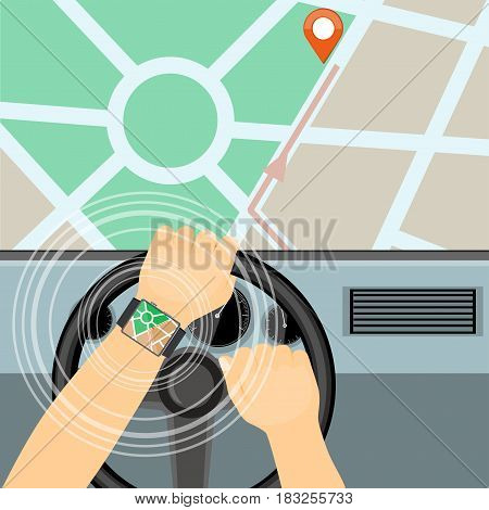 Flat modern vector illustration gps app on the smartwatch on the driver hands holding steering wheel of the car and map with pointer. eps 10.