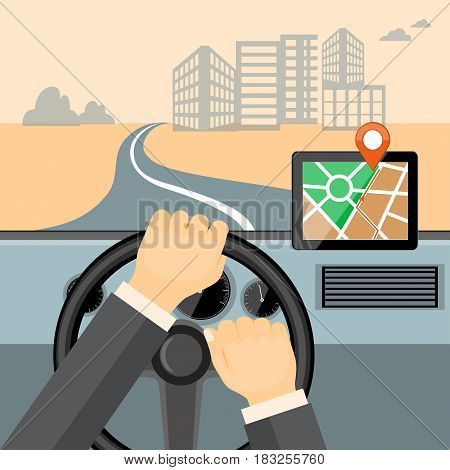 Flat modern vector illustration mobile gps app on the tablet with map pointer and driver hands on the steering wheel of the car. eps 10.