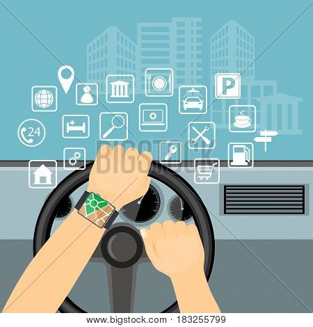 Flat modern vector illustration gps app on the smartwatch on the driver hands holding steering wheel of the car and web icons. eps 10.