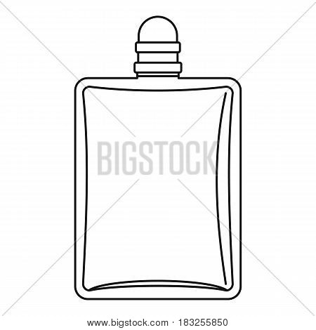Bottle of female perfume icon in outline style isolated on white background vector illustration