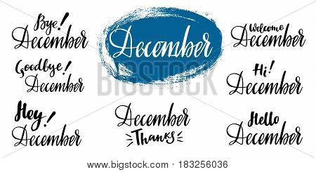 Hello - bye December - winter calligraphic set. Vector isolated illustration: brush calligraphy, hand lettering. For calendar, schedule, diary, journal, postcard, label, sticker and decor