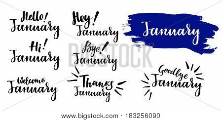 Hello - bye January - winter calligraphic set. Vector isolated illustration: brush calligraphy, hand lettering. For calendar, schedule, diary, journal, postcard, label, sticker and decor