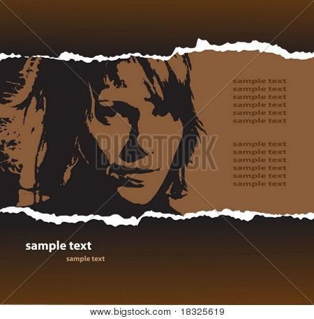 Grunge fragmentary paper with womans portrait and place for text