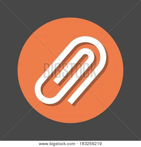 paperclip flat icon. Round colorful button circular vector sign with shadow effect. Flat style design