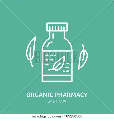 Organic pharmacy line icon. Vector logo for alternative medicine store.