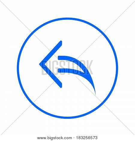 Arrow left reply circular line icon. Round colorful sign. Flat style vector symbol