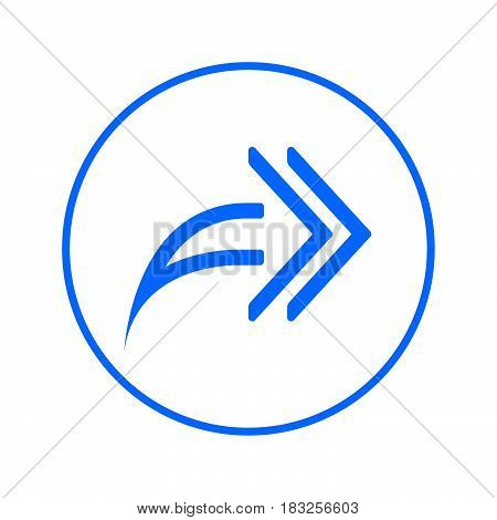 Right arrows Forward circular line icon. Round colorful sign. Flat style vector symbol