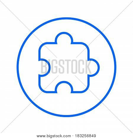 Puzzle piece plugin circular line icon. Round colorful sign. Flat style vector symbol