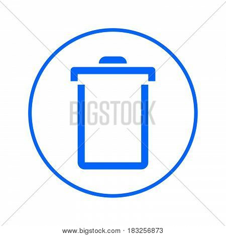 Delete trash can recycling bin circular line icon. Round colorful sign. Flat style vector symbol