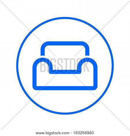 Comfortable sofa armchair circular line icon. Round colorful sign. Flat style vector symbol
