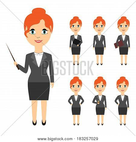 Set of business people in flat style isolated on white background. Women with red hair in various poses
