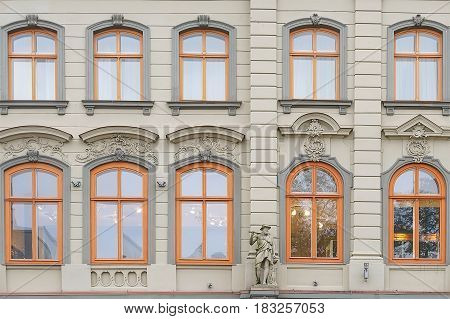 House wall with moulding in Riga Latvia