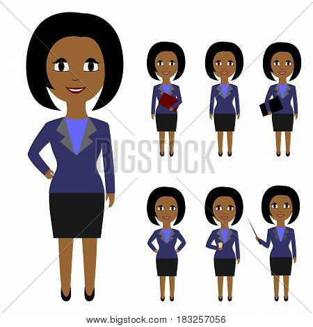 Set of business people in flat style isolated on white background. The dark-skinned woman with black hair in various poses