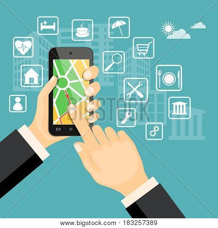 Flat modern vector illustration gps app on the smartphone in the hand of man with map web icons. eps 10.