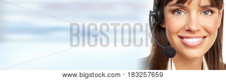 Agent woman with headsets