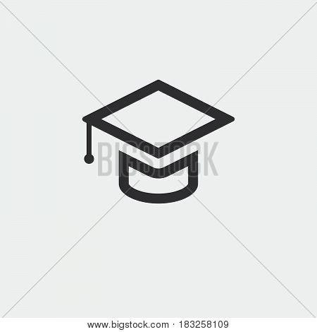 Graduation cap icon isolated on white background .