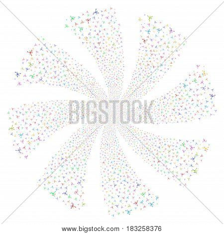 Big Bang fireworks swirl rotation. Vector illustration style is flat bright multicolored iconic symbols on a white background. Object twirl created from random pictograms.