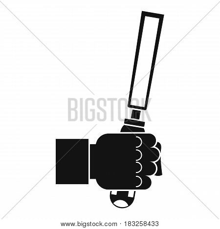 Chisel tool in man hend icon in simple style isolated on white background vector illustration