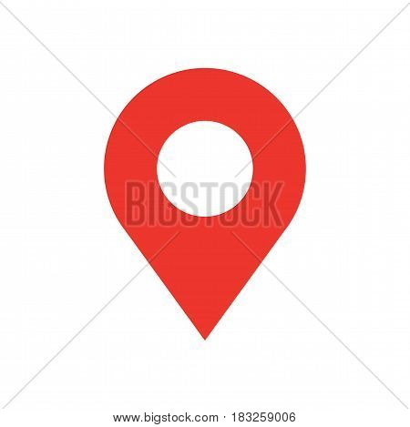 Simple map pin flat icon, pointer minimal vector symbol, marker sign