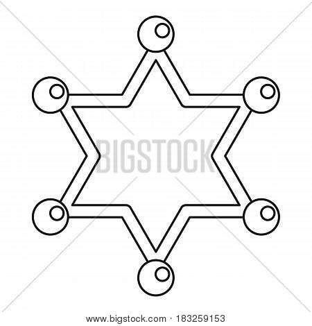 Sheriff star icon in outline style isolated on white background vector illustration