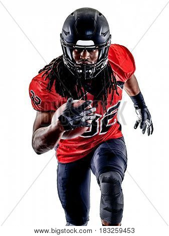 one american football player man isolated on white background