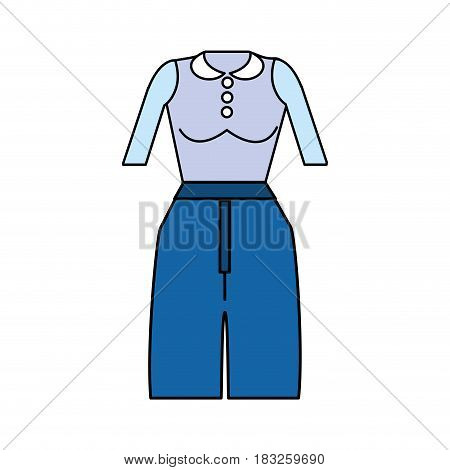 casual blouse and pants cloth style, vector illustration