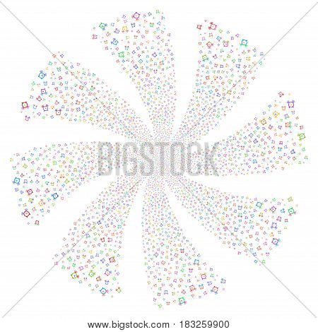 Buzzer fireworks swirl rotation. Vector illustration style is flat bright multicolored iconic symbols on a white background. Object whirlpool created from random design elements.
