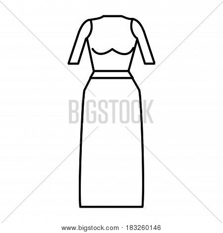 line casual blouse and long skirt cloth, vector illustration