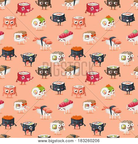 Fun sushi character vector isolated. Japaneseemotions sushi character food with cute face. Japanese comic seafood cuisine sushi character funny food avatar emojji icon asian food seamless pattern