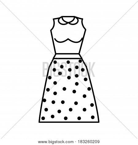 line casual blouse and skirt cloth style, vector illustration