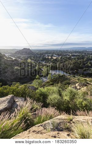 Morning view of Stoney Point Park and the San Fernando Valley in Los Angeles, California.