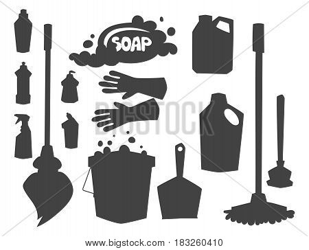 Cleanser bottle chemical housework product silhouette and care wash plastic equipment cleaning liquid flat vector illustration. Hygiene domestic container toiletries household tool.