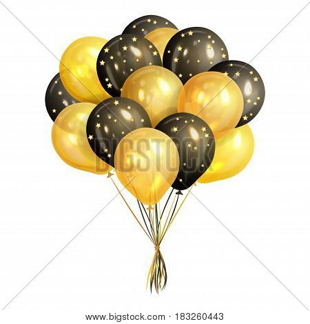 Bunch of realistic black and gold helium balloons isolated on white background. Party decorations for birthday anniversary celebration. Vector illustration