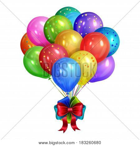 Bunch of realistic colorful helium balloons isolated on white background. Party decorations for birthday anniversary celebration. Vector illustration