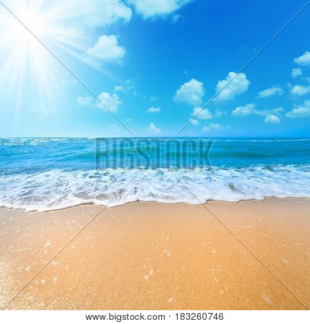 Sunny Summer day on the Sea Beach - travel and adventure background