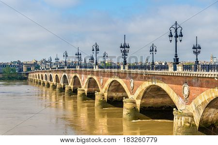 Pont de pierre, an old bridge in Bordeaux - Aquitaine, France