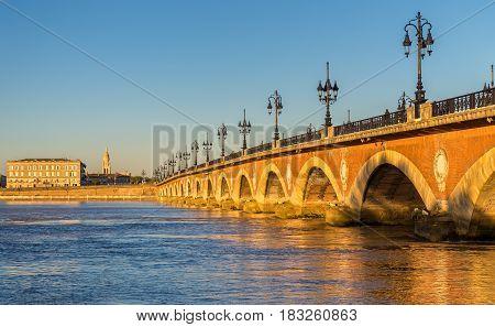 Pont de pierre, an old bridge in Bordeaux - Aquitaine, France