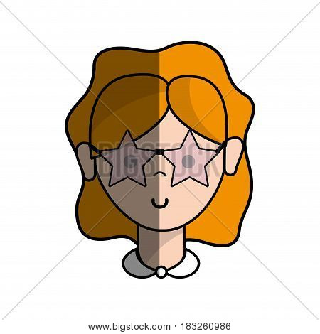 happy beautiful woman with glasses and hairstyle, vector illustration