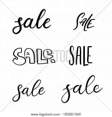 Sale. Set Of Handwritten Inscriptions. Vector Hand Lettering Text. Calligraphy