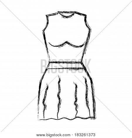 contour casual blouse and short skirt cloth, vector illustration design