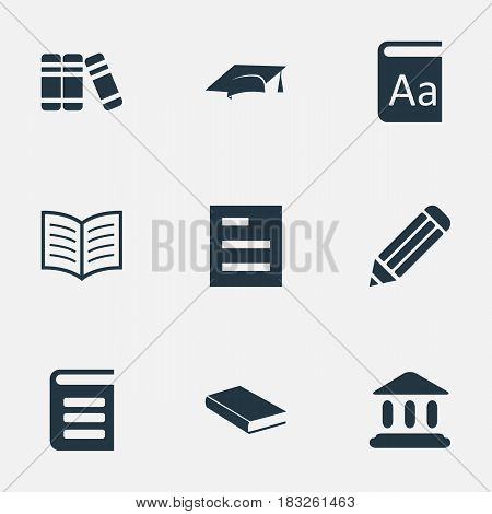 Vector Illustration Set Of Simple Reading Icons. Elements Tasklist, Academic Cap, Pen And Other Synonyms Writing, Document And Hat.