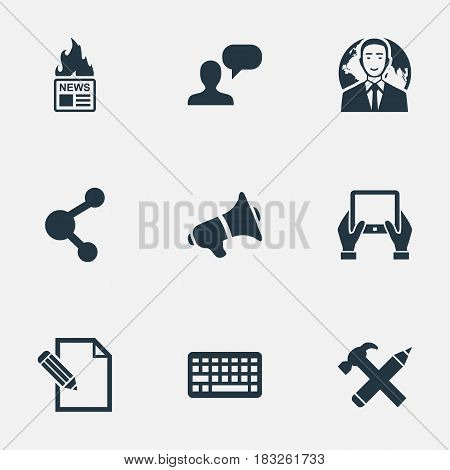 Vector Illustration Set Of Simple User Icons. Elements Man Considering, Keypad, Loudspeaker And Other Synonyms Share, Hot And Megaphone.