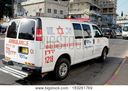 TIBERIAS ISRAEL - FEBRUARY 26 2017: Car Ambulance Magen David adom on the street in Tiberias
