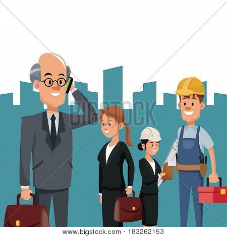 construction people team workers portfolio toolkit urban background vector illustration
