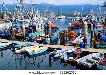 March 15, 2017 in Santa Barbara, CA:  Fishing Vessels, sail boats, yachts, and row boats docked at the Santa Barbara Marina where people can take their own yachts out to sea or rent boats taken in Santa Barbara, CA