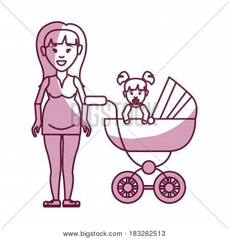 woman pregnant and her baby girl, vector illustration design