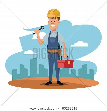 character man worker employee construction overalls and equipment vector illustration