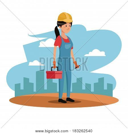 character woman employee worker construction toolkit urban background vector illustration